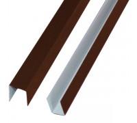 Планка П-образная, 8017 (коричневый), 20х20х20, 2 м.